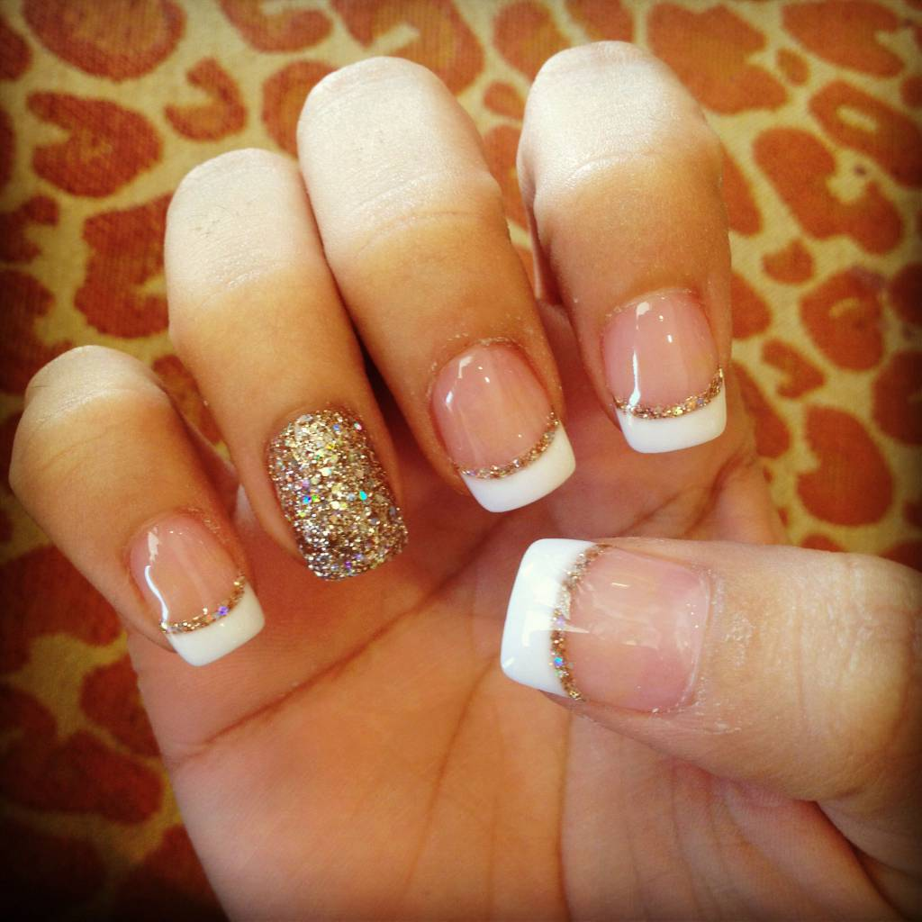 The White And Gold French Nails
