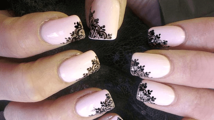 Ivory and black nails