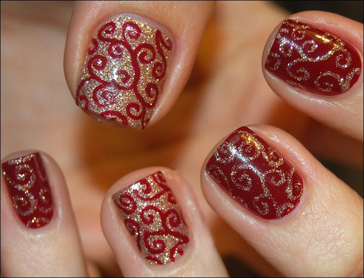 Red with shimmers nail